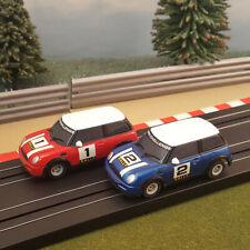 Micro / My First Scalextric Pair Of 1:64 Cars - Mini Rally Red #1 & Blue #2