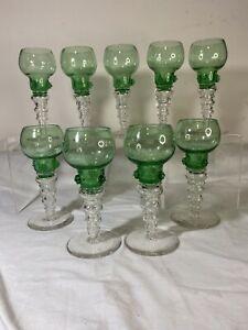 "Antique Roemer Blown Glass Emerald Green Wine Goblet Stem 9pc 1850's 7.5""H"