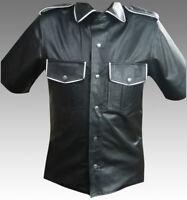 Men Leather Black Shirt Half Sleeves White Boarder Shoulder Straps Police Style
