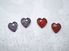 Rhinestone Heart Silver Plated Costume Earrings