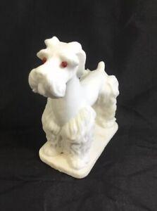 Vintage Salt Stone Schnauzer Dog Sculpture Red Eyes