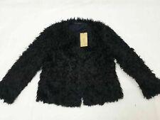 ZARA Dark Navy Black Fur Jacket Large L Coat Teddy Fur