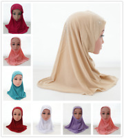 Muslim Kids Girls All Cover Hijab Scarf Islamic Ramadan Headwear Arab Underscarf