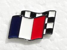 FRANCE MOTORSPORT CHECKERED FLAG ENAMEL LAPEL PIN BADGE. 25x20mm.