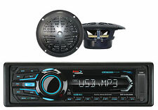 "BOSS Marine AM/FM USB Bluetooth iPod Receiver & 2 4"" Black 100W Marine Speakers"