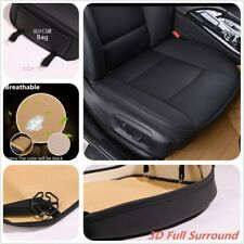 1x Black PU Leather Car Front Seat Cushion Pad Protector Mat Cover Sedan Driver