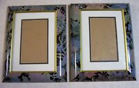 """2 Vintage Picture Photo Frames w/Mat Green/Red Floral Pattern Gold Trim 5"""" by 7"""""""