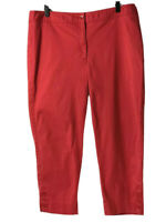 Talbots Pants NWOT Women's Red Capri Cropped Pants With Accent Buttons Size 12