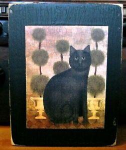 Black Kitty Cat Primitive Rustic Farmhouse Sign Block Shelf Sitter 3.5X4.5