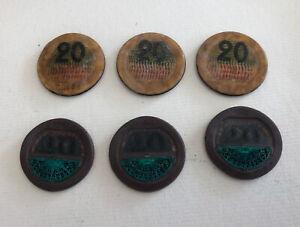 LOT 3 ET 3 JETONS CASINO MONACO SBM 20 FRANCS LÉGÈREMENT GONDOLES REF64525