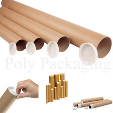 "Cardboard POSTAL TUBES A1(630x45mm)25""+ PLASTIC CAPS *Any Qty* Posting Postage"