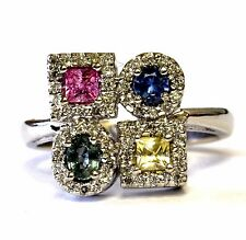 14k white gold VS G .40ct diamond womens created sapphire ring 5.4g estate