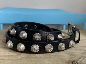 "Men's Brave Black Leather Silver Studded Belt Size 40"""
