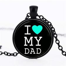 Wholesale Art Photo Cabochon Glass Black  Chain Pendant Necklace ,I Love YOU DAD