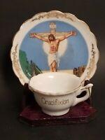 Vintage Crucifixion Cup & Saucer & Stand Jesus On Cross Victoria Ceramics JAPAN