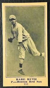 1916 M101-5 #151 Babe Ruth Rookie Reprint - Mint Condition