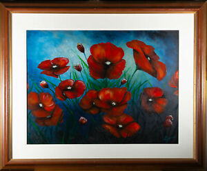 G. James - Large Contemporary Acrylic, Poppies