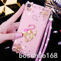 Lady's Jewelled Rhinestone Bling Crystal Diamond Soft Phone Case Cover & strap H
