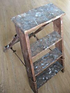 Set old vintage mid century wooden step ladder steps Kitchen / Library / Garden