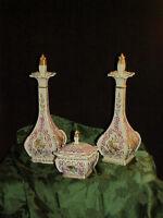 Antique Limoges Porcelain Vanity Dresser Set 2 ORNATE Perfume Bottles Powder Box