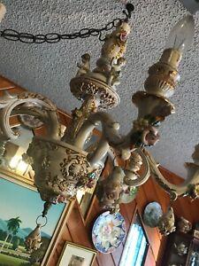 Vintage Porcelain Capodimonte Italy 6 Arm Ceiling Chandelier Gold Trim w Cherubs