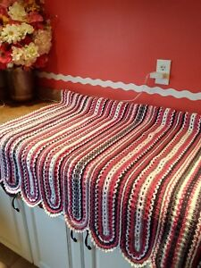 gorgeous new handmade crocheted afghan done in coral/white/gray