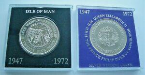ISLE OF MAN & UK PRINCE PHILIP & QEII 1972 ROYAL WEDDING ANNIVERSARY CROWNS
