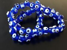 1 Sarta CRISTAL OJO TURCO AZUL 8mm sarta hilo cristales azules amuleto ojos