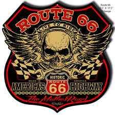 Route 66 Skull Cut Out Metal Sign By Steve McDonald 17.5x17.5  RVG367S