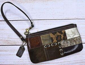 COACH Patchwork Brown Ocelot Signature Suede Leather WRISTLET PURSE Wallet