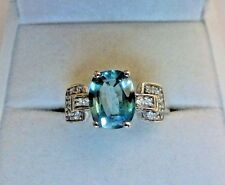 2.8 Carat Natural Cambodian Blue Zircon 10K Solid White Gold Ring Size 7