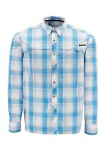 Simms STONE COLD Long Sleeve Shirt ~ Cornflower Plaid NEW ~ Closeout Size Large