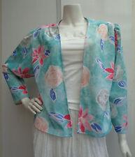 Vintage Retro 1970's Aqua Flower Print Jacket / Top Size M