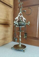 Antique Brass Cherub LUCERNE Whale OIL Lamp Tools Wick Pick Snuffer and Tweezer
