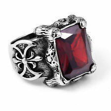 Stainless Steel Band Ruby Rings for Men