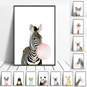 Cute Small Animal Canvas Poster Home Art Wall Nordic Kids Children Room Decor