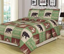 King, Full/Queen, Twin Quilt Bed Set or Curtain Panel Set Rustic Log Cabin Bear