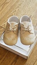New Spring 2020 Spanish Mayoral beige canvas wing tip baby shoes ,17(5-7 mo),NIB