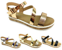 New Women Wedge Heel Strappy Sandals Ladies Flat Chunky Platform Shoes Size 3-8