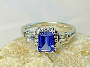 Stunning! 10k White Gold Tanzanite Diamond Accent Ring Sz 7 Jewelry 2.33g Blue