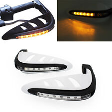 White Motorcycle Brush Guards LED DRL Turn Signal Hand Bar Handguard Protector