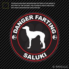 Danger Farting Saluki Decal Self Adhesive Vinyl dog canine pet