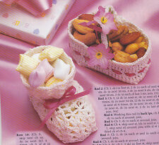 Crochet Pattern ~ BABY BOOTIES & BASKET SHOWER FAVORS Nut Cups ~ Instructions
