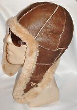 NEW Handmade mens Sheepskin Bomber Aviator Pilot Fur Hat Real Leather size M-L