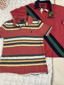 Boys Polo Ralph Lauren Knit Striped Golf Shirts M 10-12 Red Coral