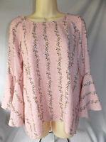 Womens LC Lauren Conrad Pink With Brown Floral Bell-Sleeve Split Back Top Medium