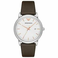 Emporio Armani Men's Silver Stainless Steel Brown Leather Watch 43mm AR11103