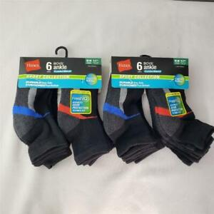 = Lot of 2 Hanes Boys Ankle Socks Comfort Blend Sports Collection M 6-Pk NEW