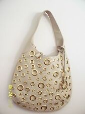 World Famous Designer RJ GRAZIANO  shoulder eyelet Camel Leather Bag.  Beige New