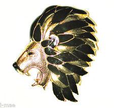 Vintage Leo Lion Face Brooch Black Gold Mane King Of The Jungle Sphinx